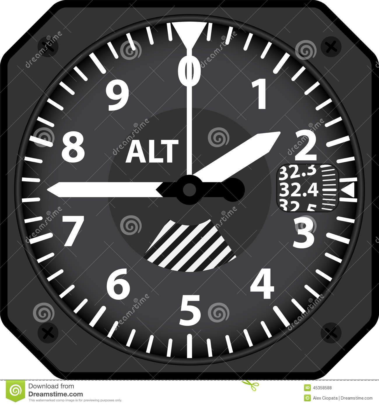 Aircraft Altimeter Stock Vector - Image: 45358588