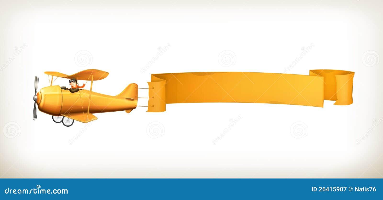 Aircraft Banner Stock Vector Illustration Of Biplane