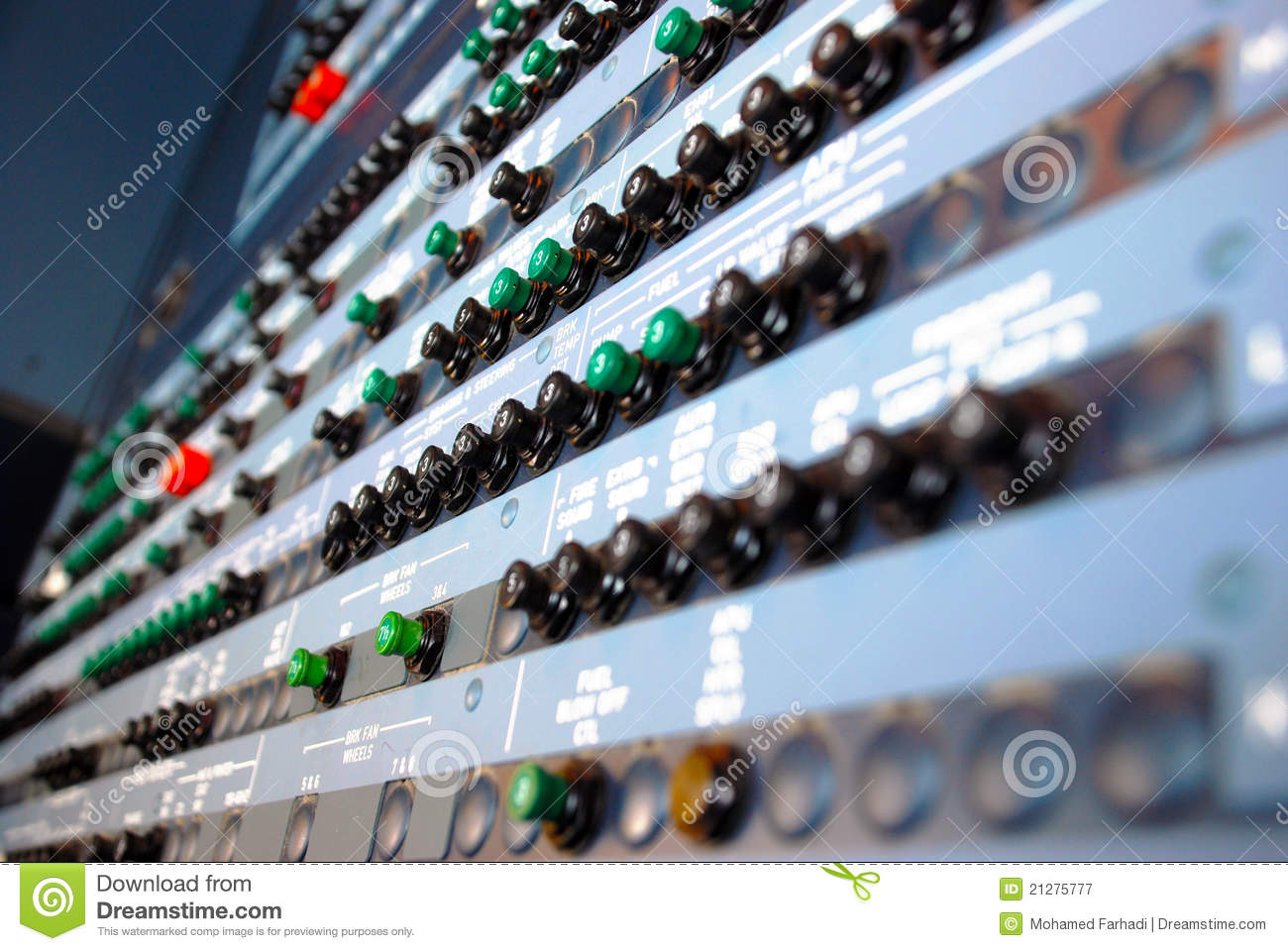 Circuit Breaker Cabinet Aircraft Circuit Breakers Panel Royalty Free Stock Photography