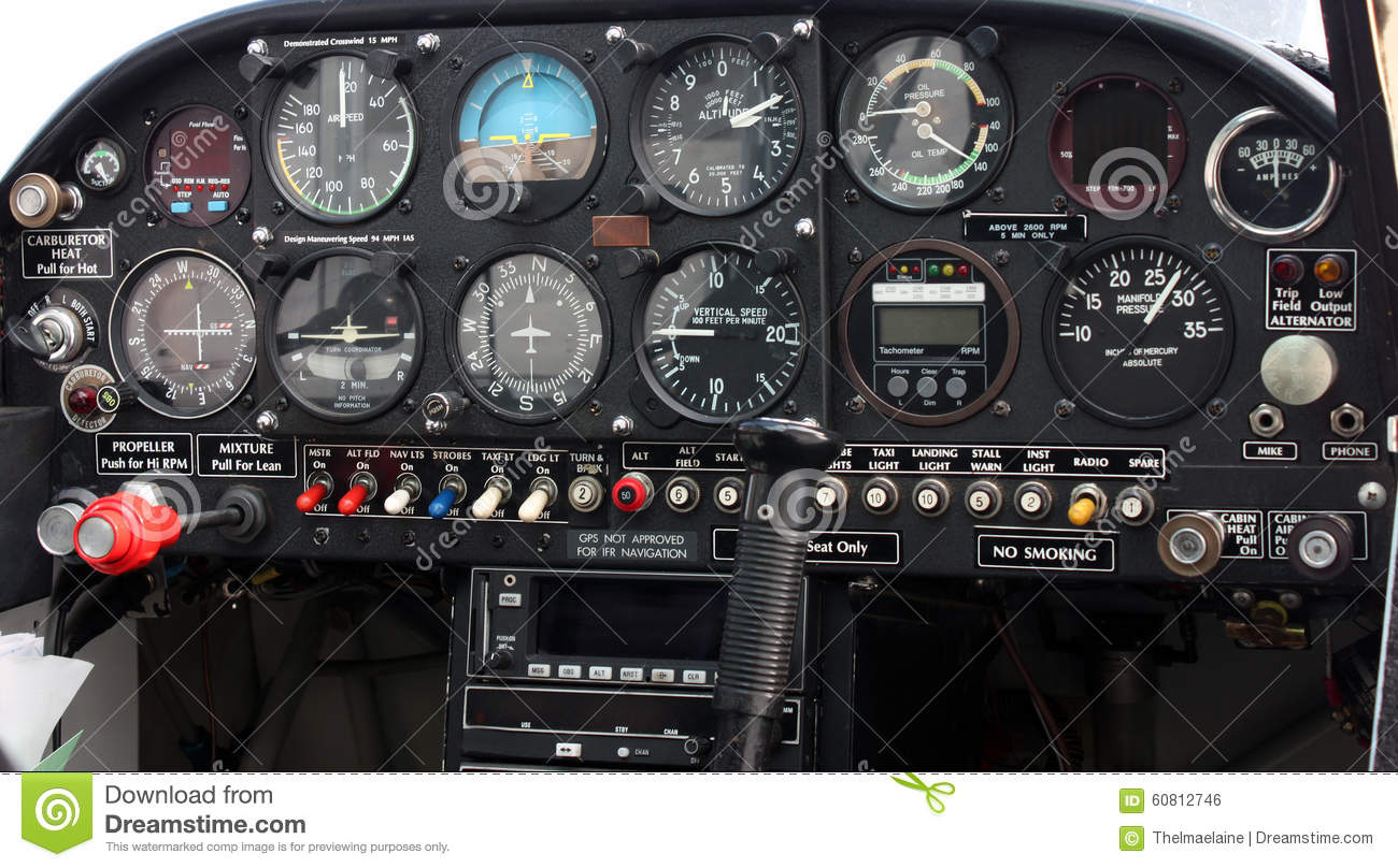 Airplane Instrument Panel : Instrument panel control aircraft royalty free stock image