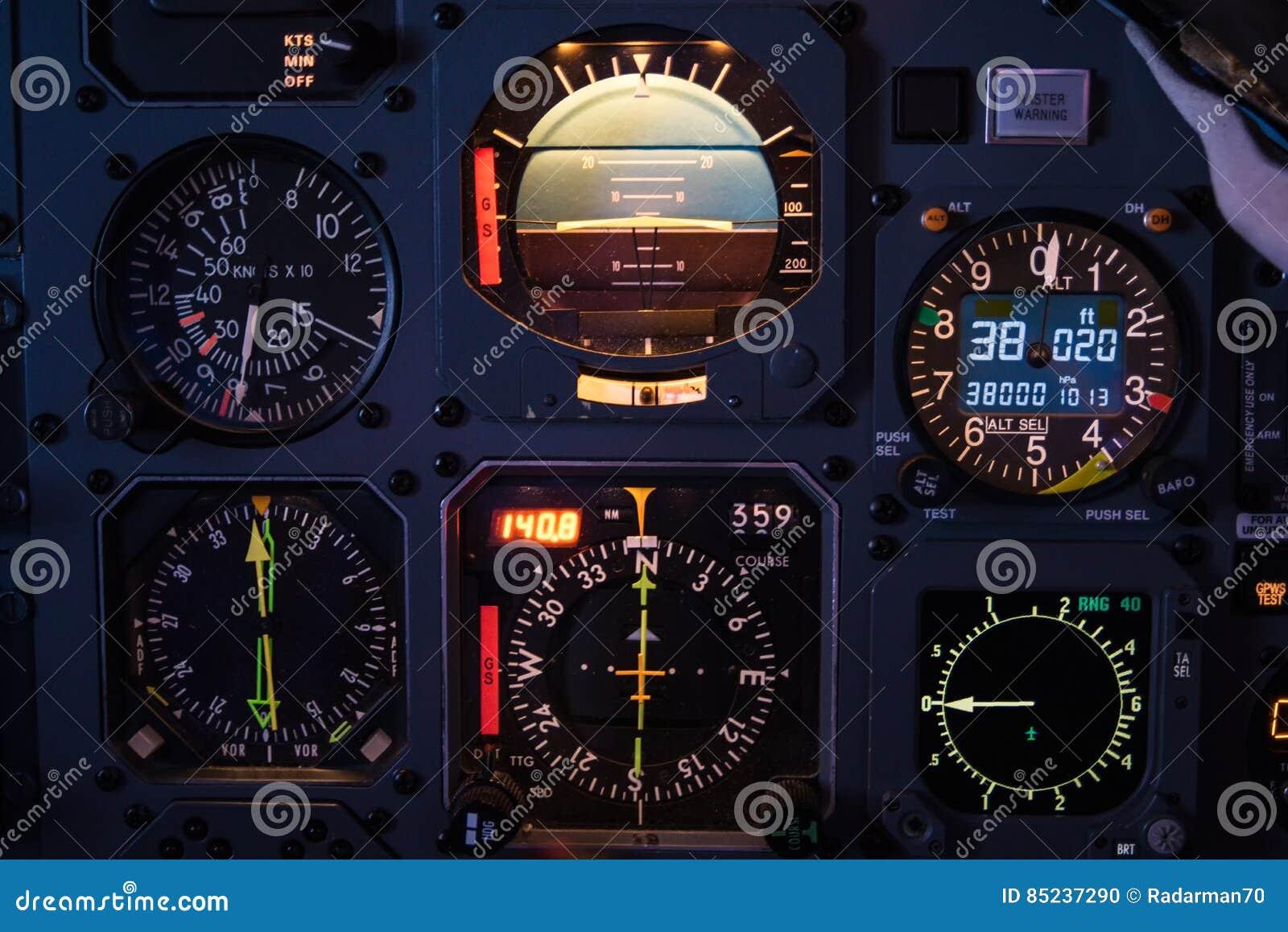 Aircraft Cockpit Instruments Stock Photo Image 85237290