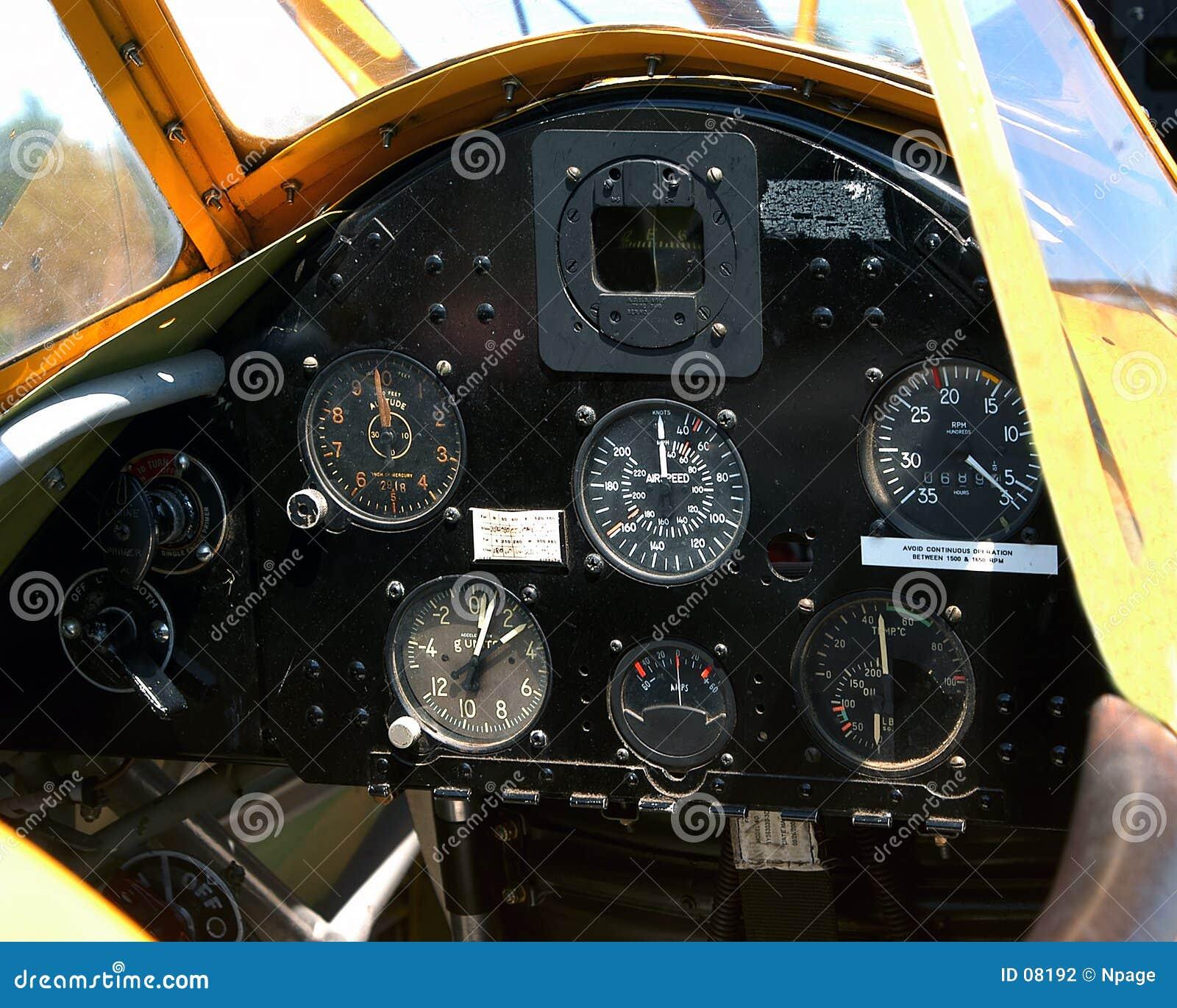 Aircraft Instrument Panel : Aircraft instrument panel stock photo image of antique