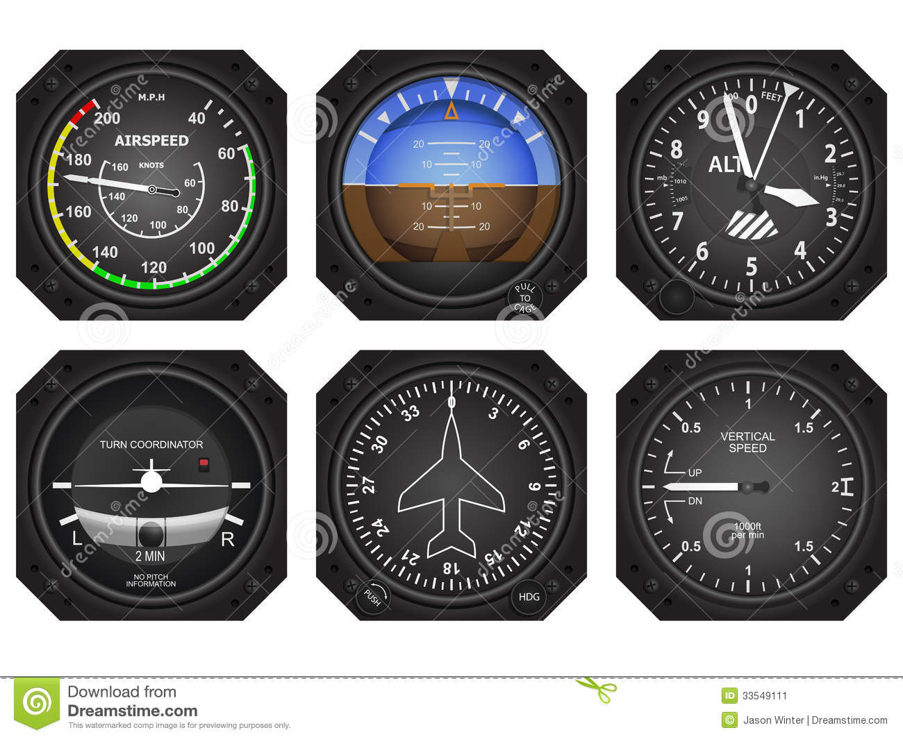 Aircraft Instruments stock vector  Illustration of gyro