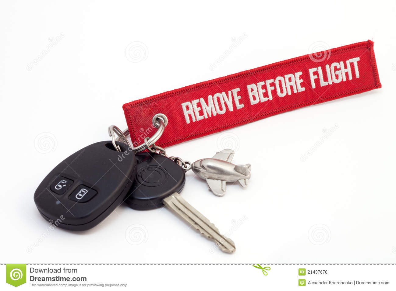 Aircraft key with red tag