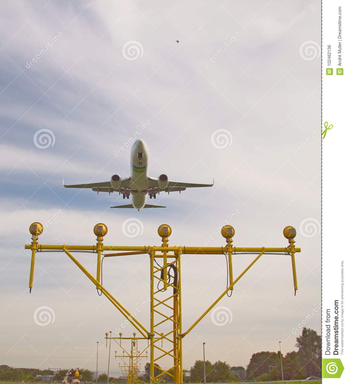 Aircraft Is Landing At The Rotterdam The Hague Airport Over The