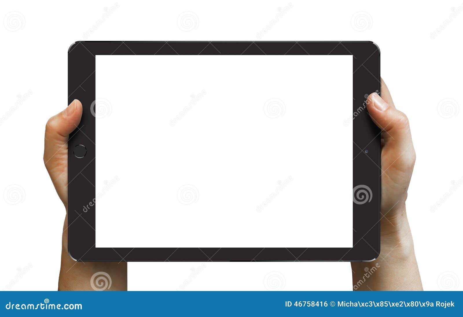 Aire negro 2 del iPad en las manos de la mujer