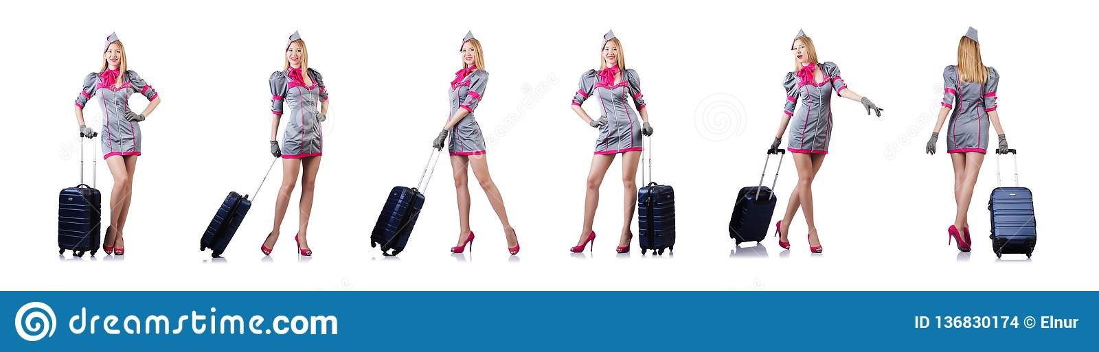 The Airhostess With Luggage On White Stock Photo - Image of