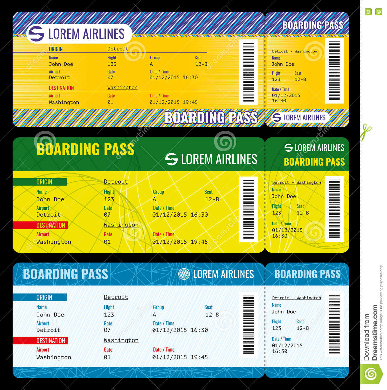 Airline Boarding Pass Modern Tickets Vector Mockup  Airline Ticket Template Free