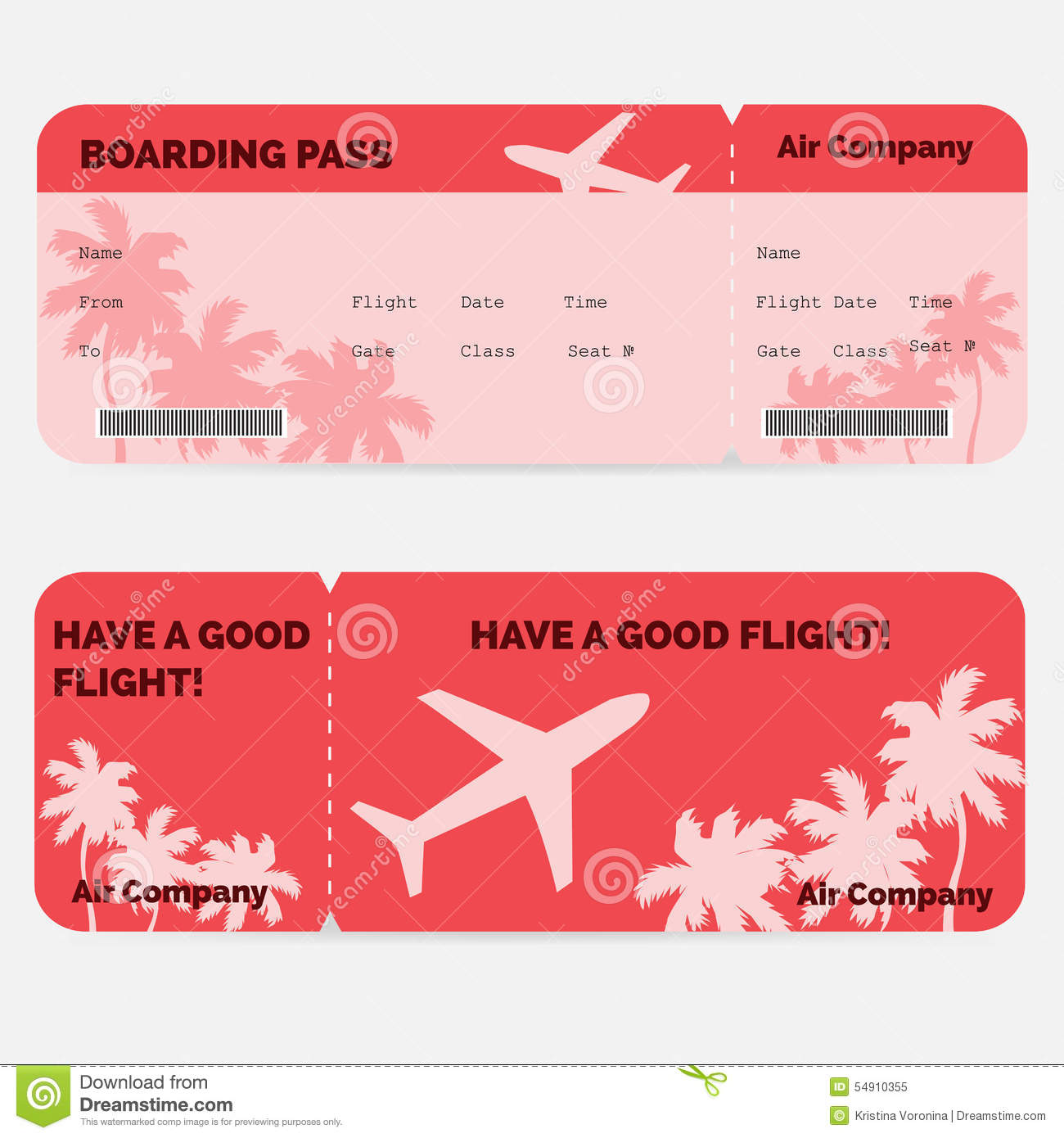 airline boarding pass  red ticket isolated on stock vector