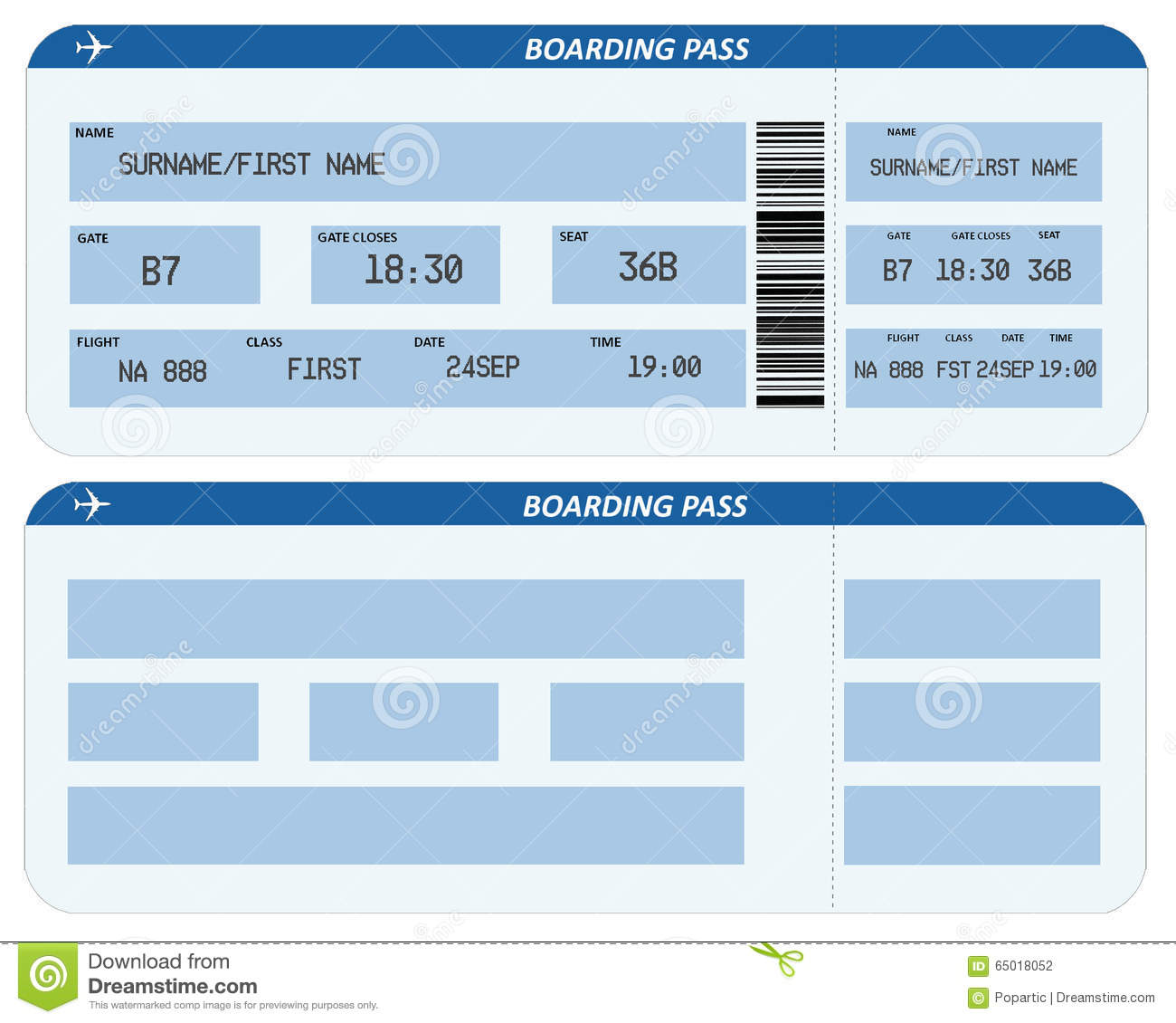 Airline Boarding Pass Stock Illustration Illustration Of Isolated