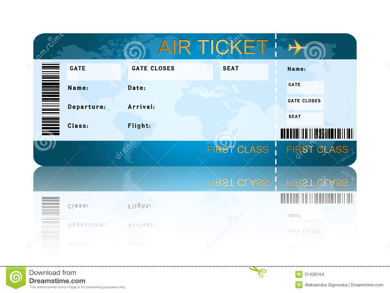 Airline Boarding Pass Ticket Isolated Over White Stock Images - Image ...