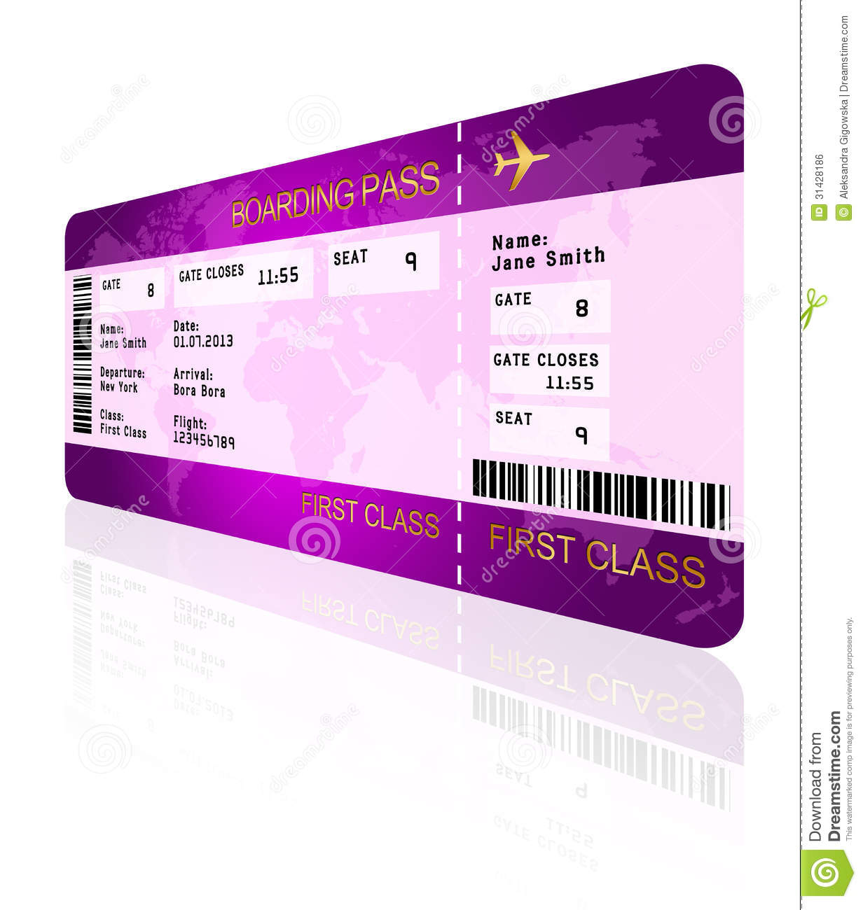 Airline Boarding Pass Ticket Isolated Over White Stock Illustration