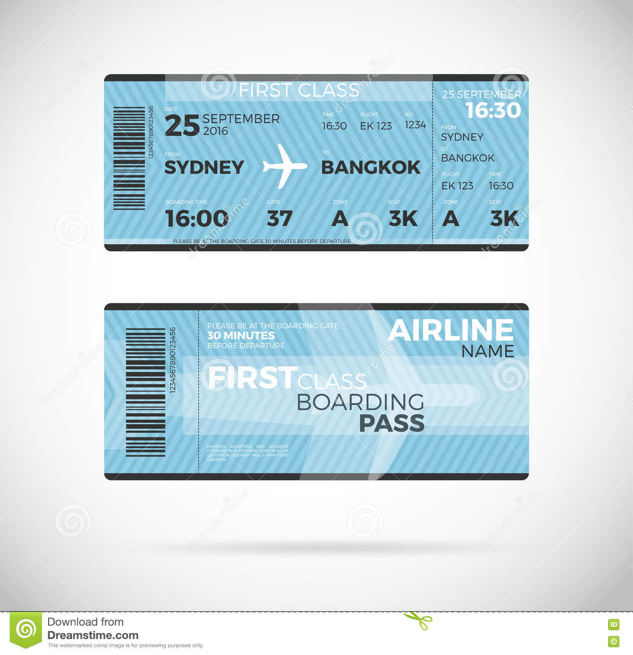 airline boarding pass ticket vector illustration  stock