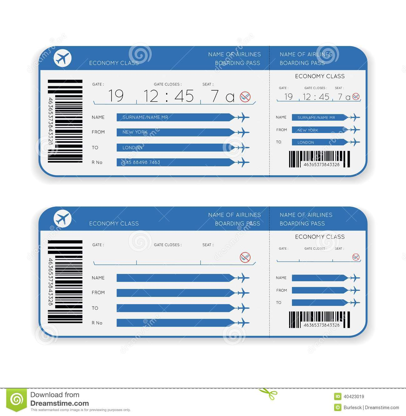 Airline Boarding Pass Ticket Stock Vector