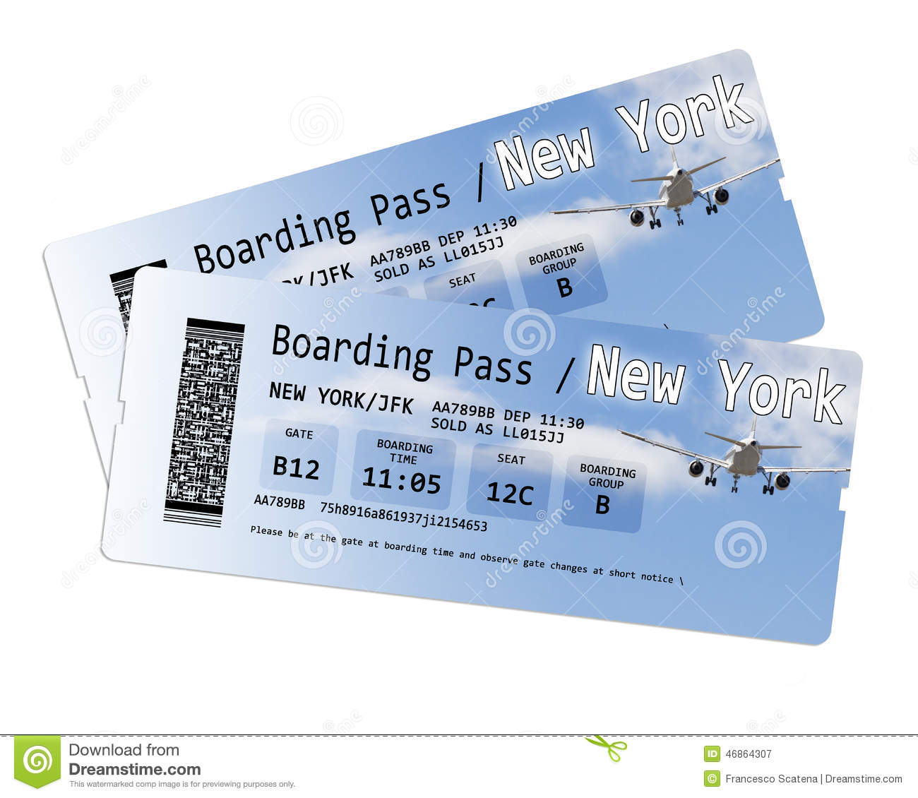 Airline boarding pass tickets to new york isolated on for New york to paris flights