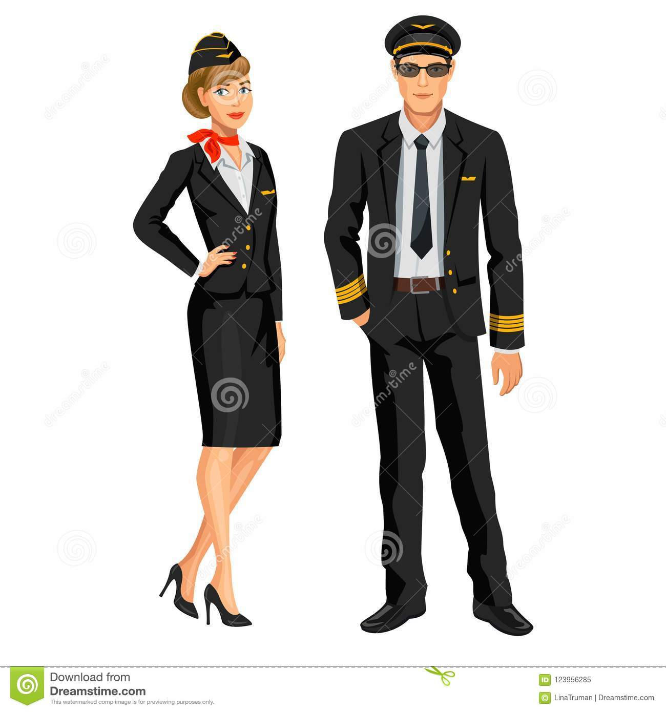 Airline Crew, Stewardess And Pilot  Officer And Flight