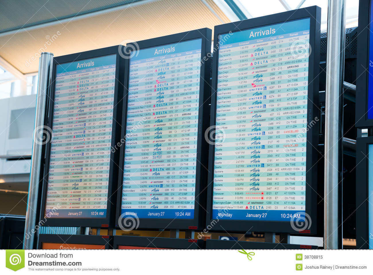 Airline Departure Arrival Reader Boards Editorial Image