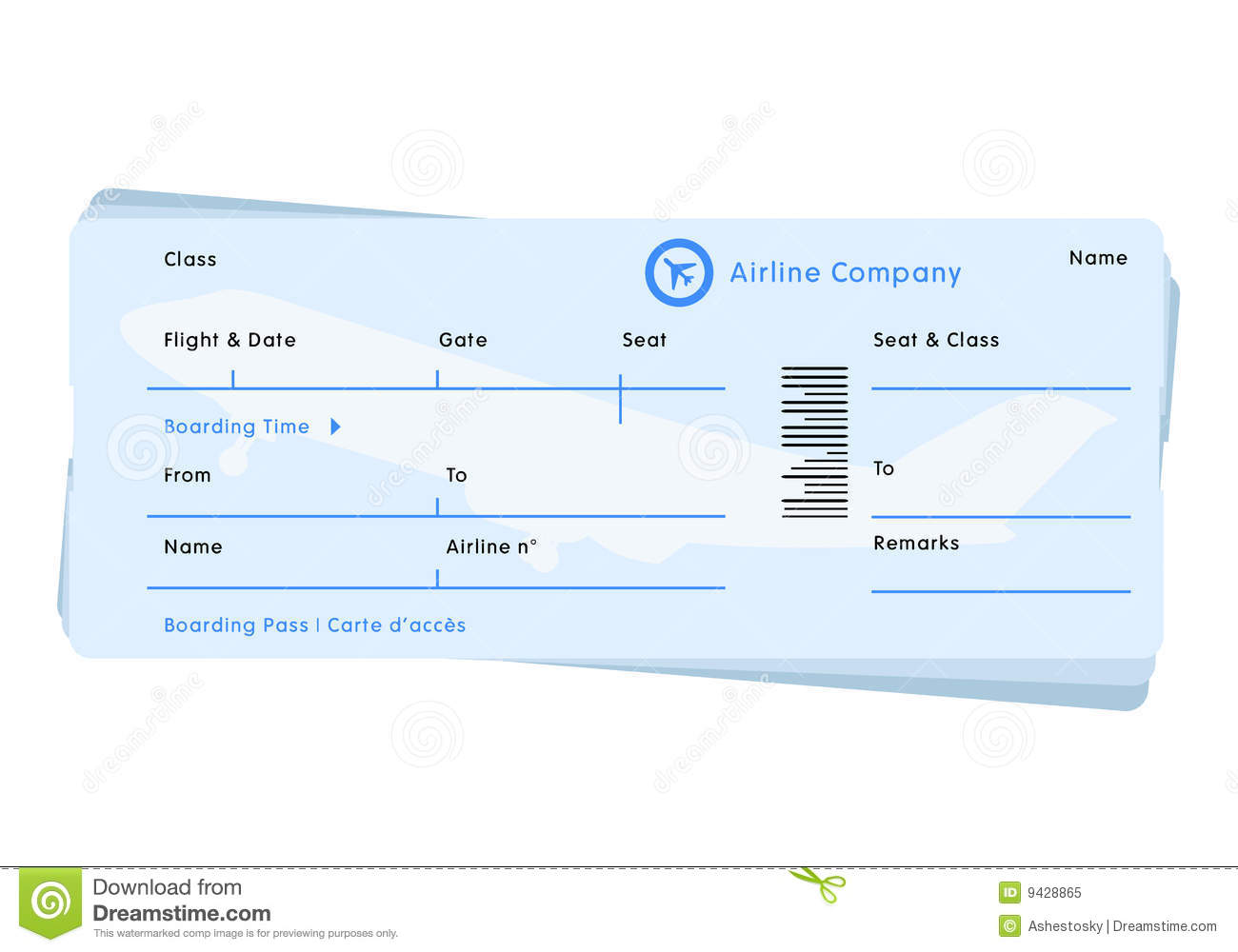 Airline Flight Ticket Vector Royalty Free Stock Photo Image 9428865
