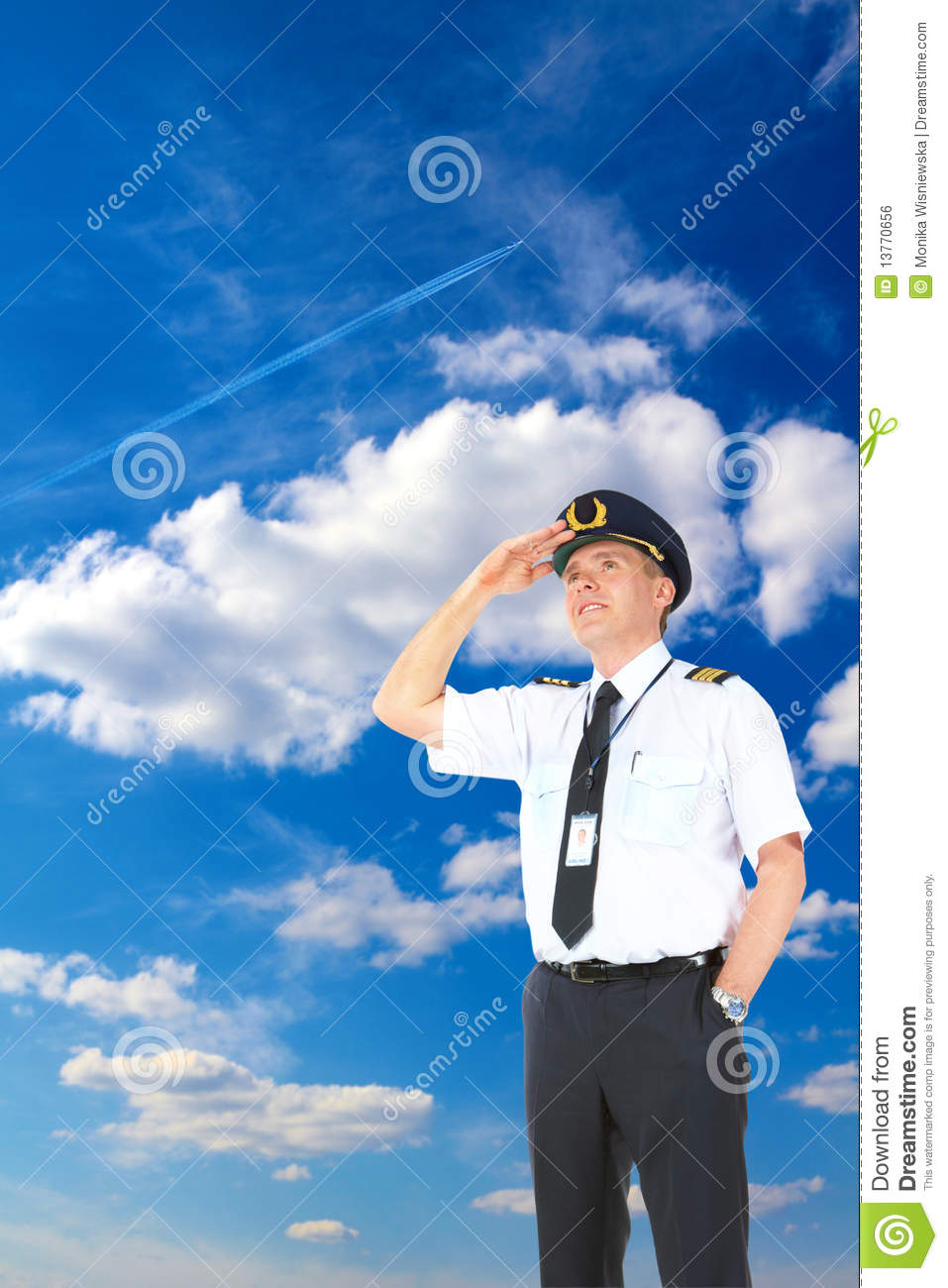 Airline pilot looking upwards