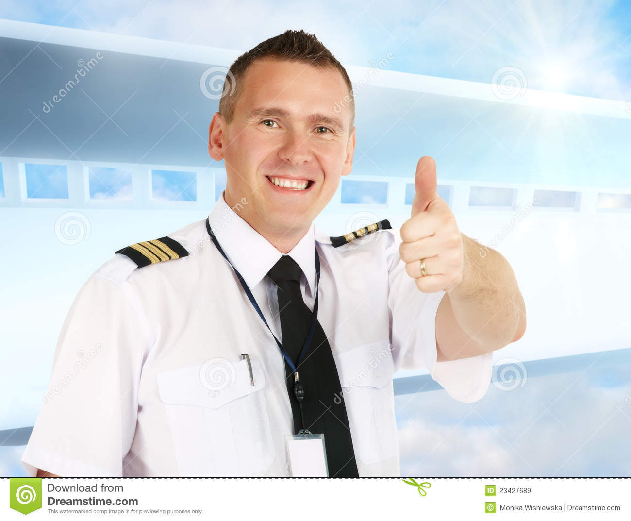 Airline Pilot Thumb Up Royalty Free Stock Images  Image