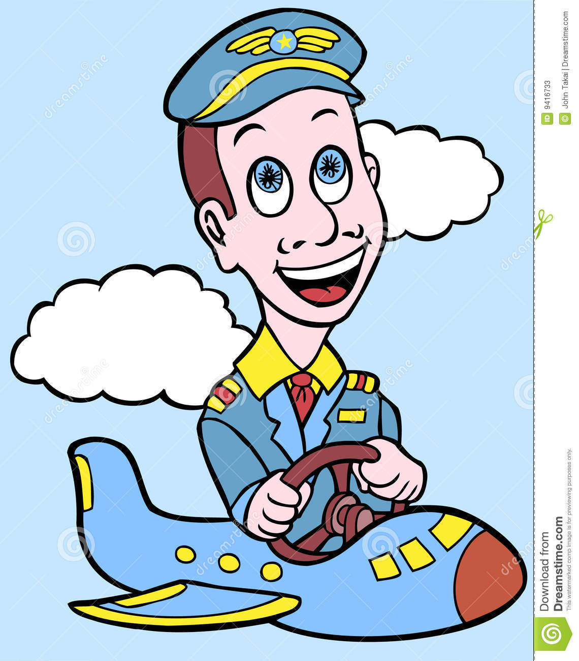Man is piloting a tiny plane wearing a airline pilot uniform.