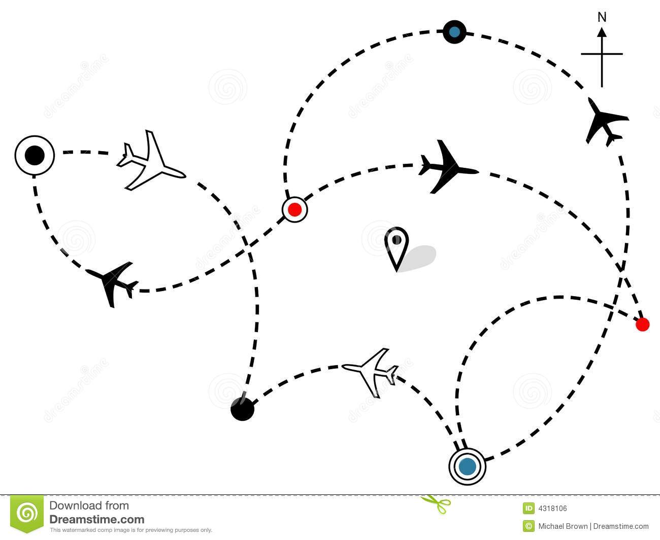 Airline Plane Flight Paths Travel Plans Map Stock Vector