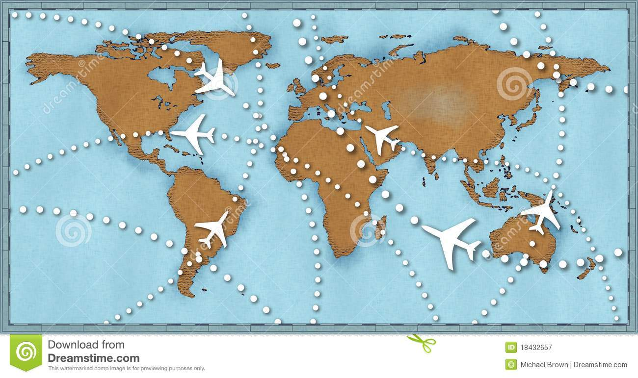 Airline planes travel flights world map stock illustration airline planes travel flights world map royalty free stock photo gumiabroncs Images