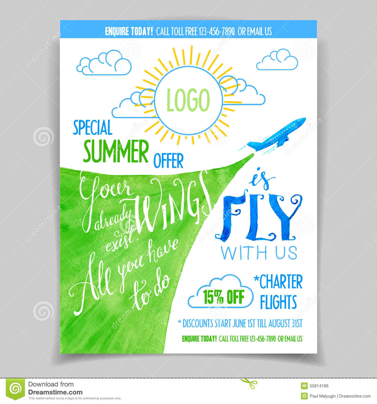 Airline Promotional Watercolor Flyer Stock Vector