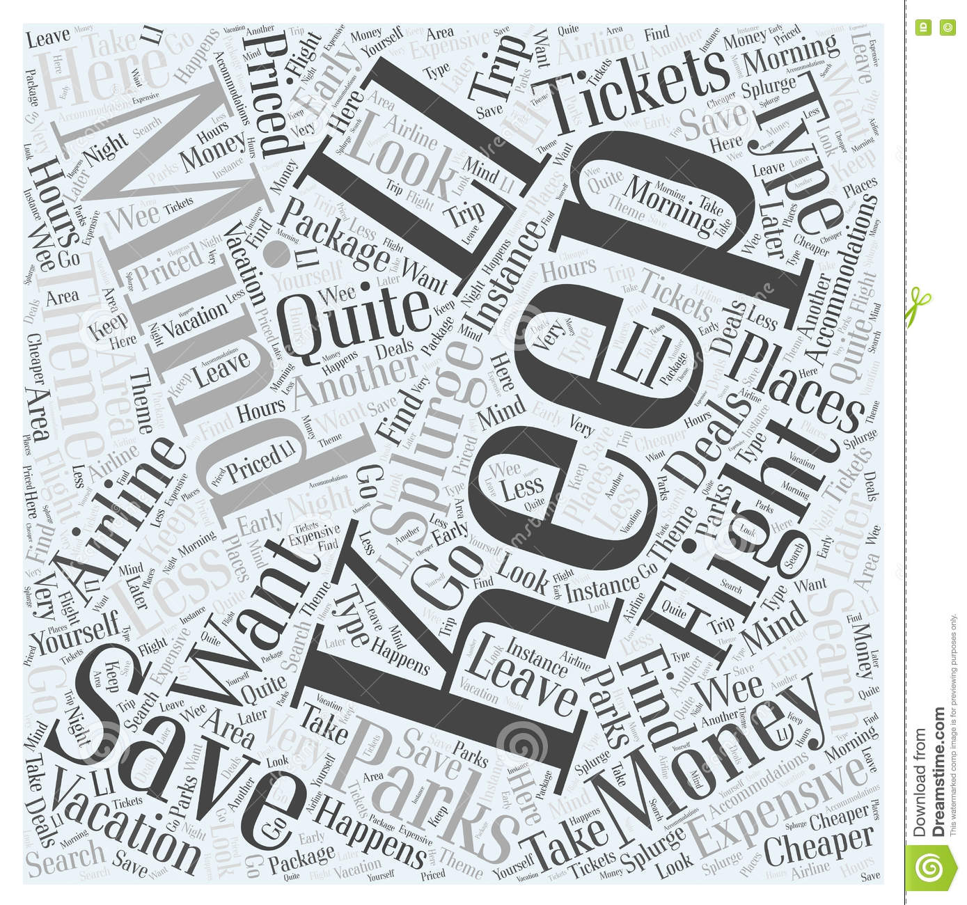 Airline Tickets And Theme Parks word cloud concept background