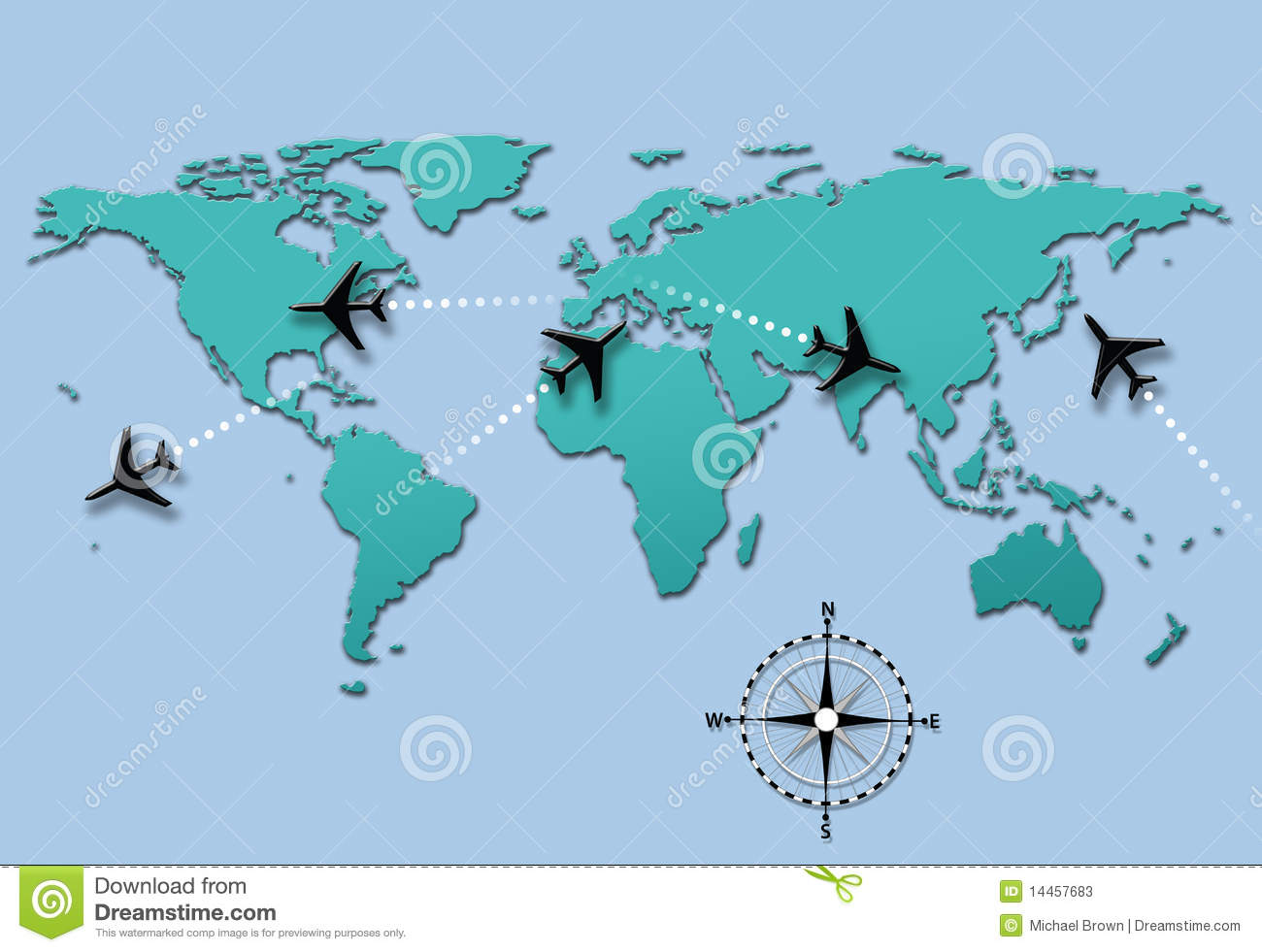 Plane Map Of The World Cvln Rp