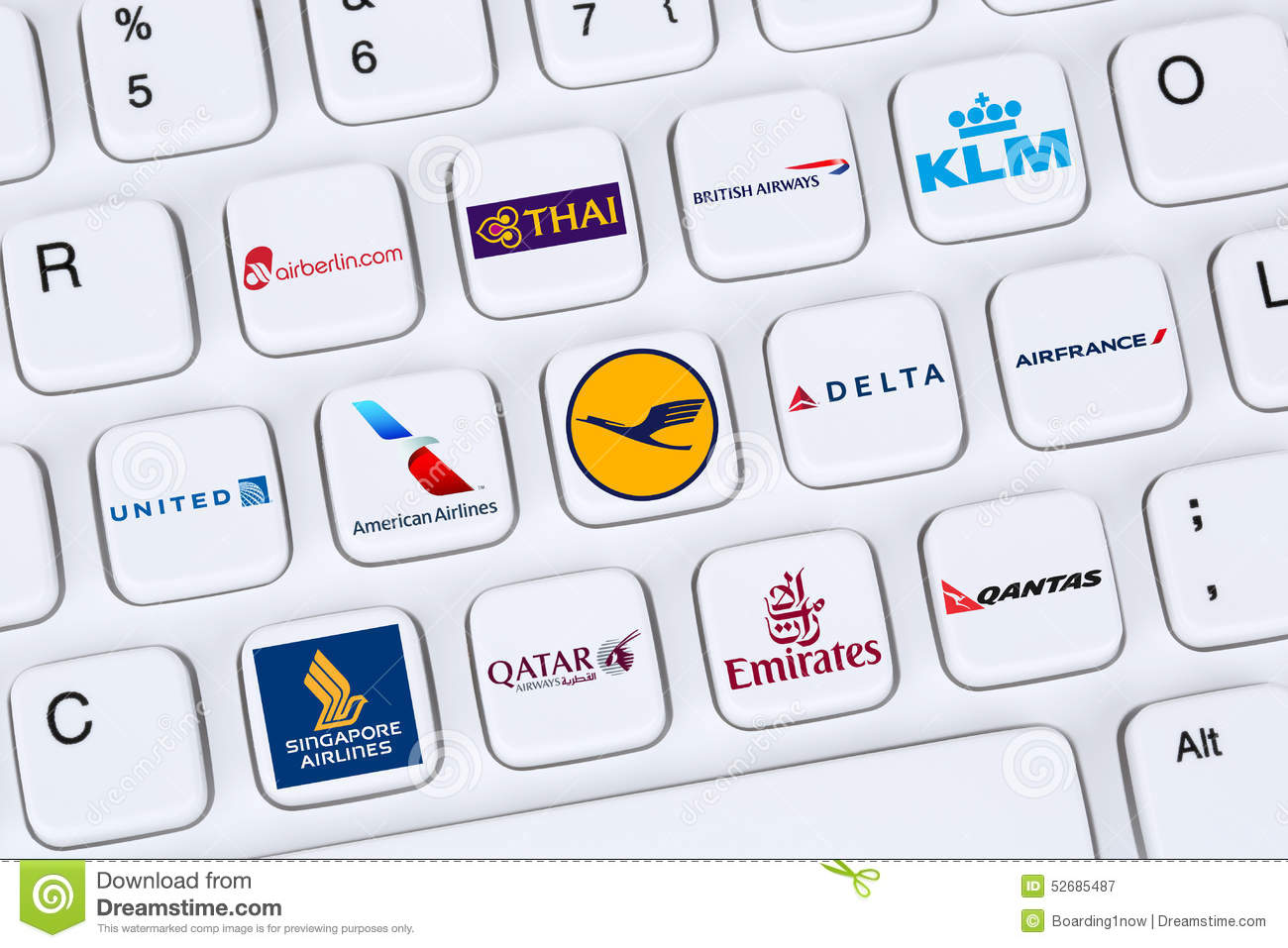 Airlines like American, United, Delta, KLM, Lufthansa, British A