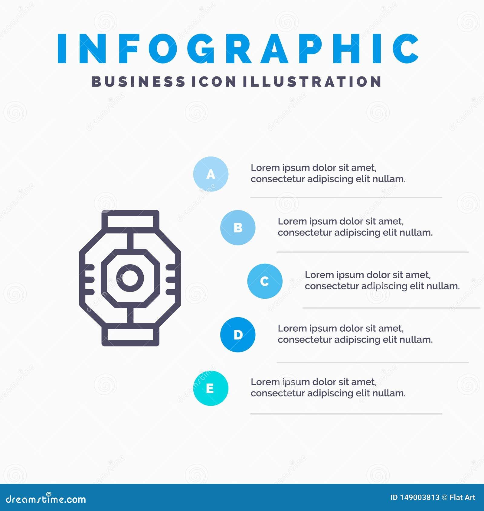 Airlock, kapsuła, składnik, moduł, strąk Kreskowa ikona z 5 kroków prezentacji infographics tłem