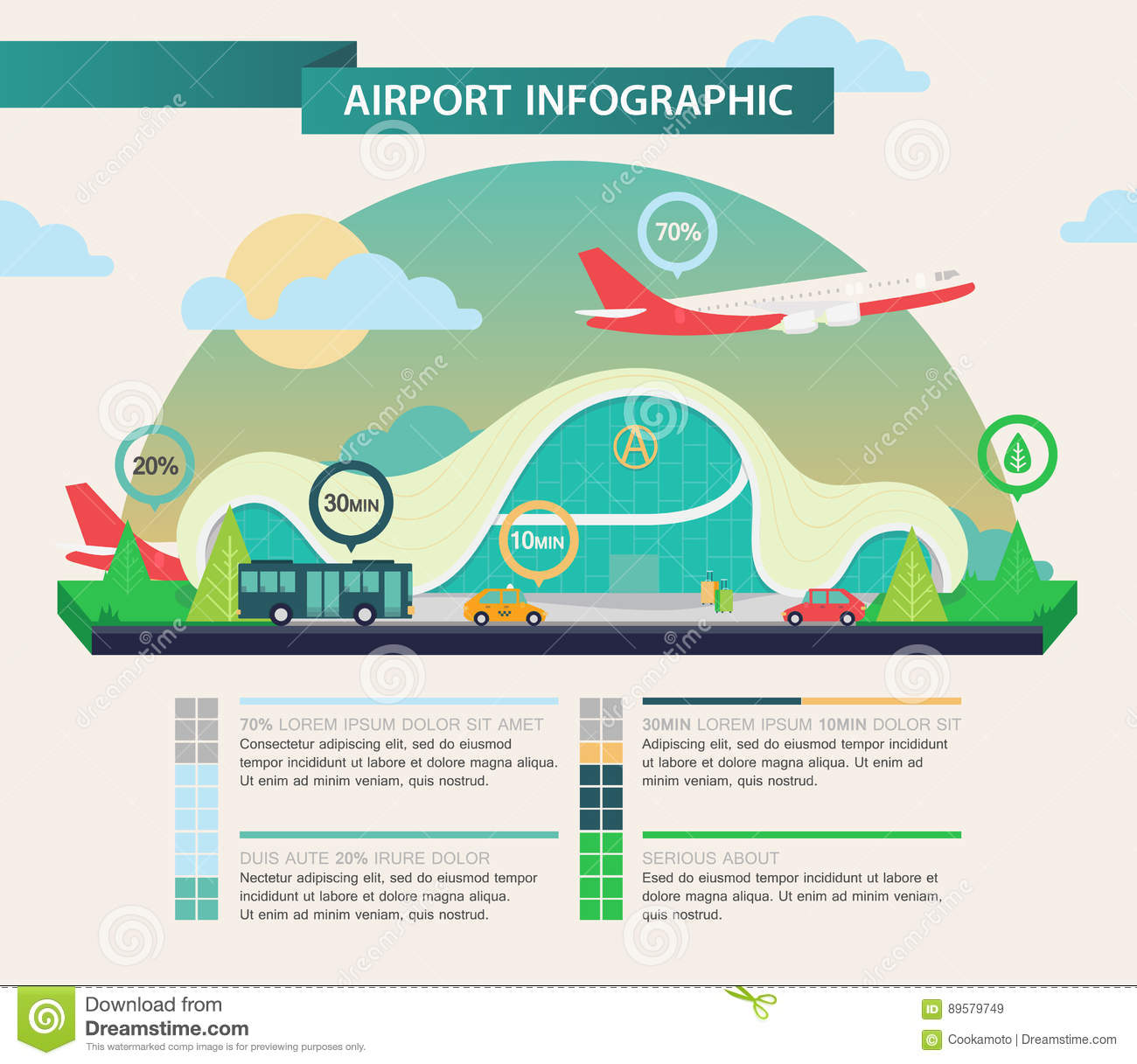 Airplane Above Airport As Transport Infographic Stock Vector ...