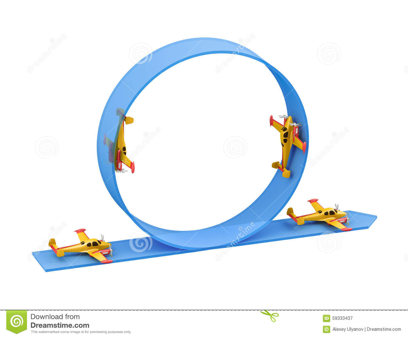 illustration of aerobatics loop with yellow airplane model over blue rh dreamstime com