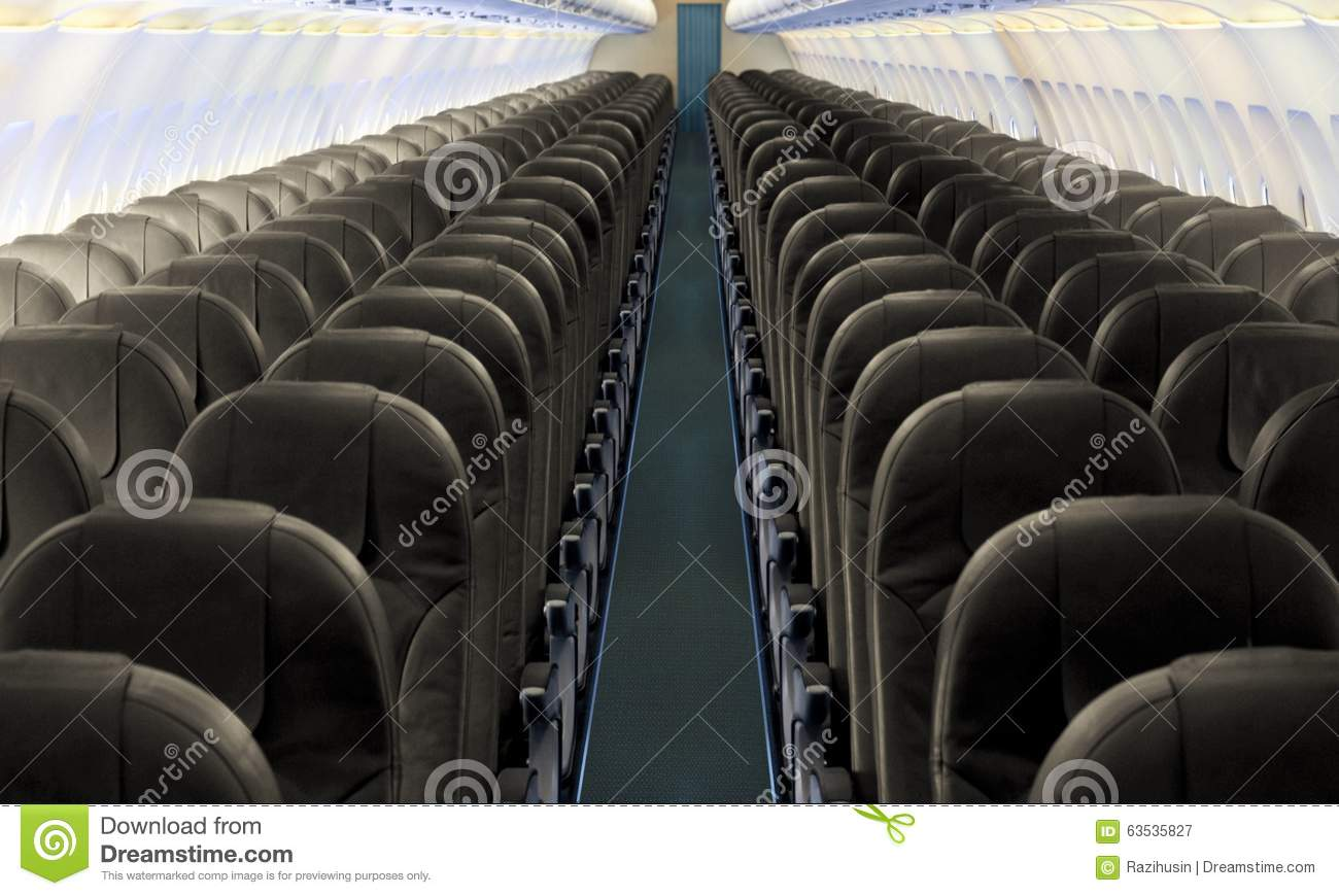 Airplane Aisle With Row Of Seats Stock Photo Image 63535827