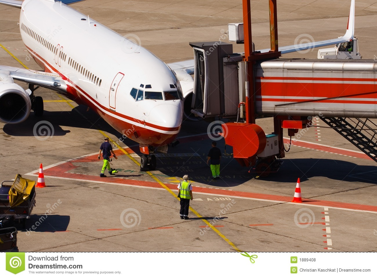 Airplane Arrival Royalty Free Stock Photos