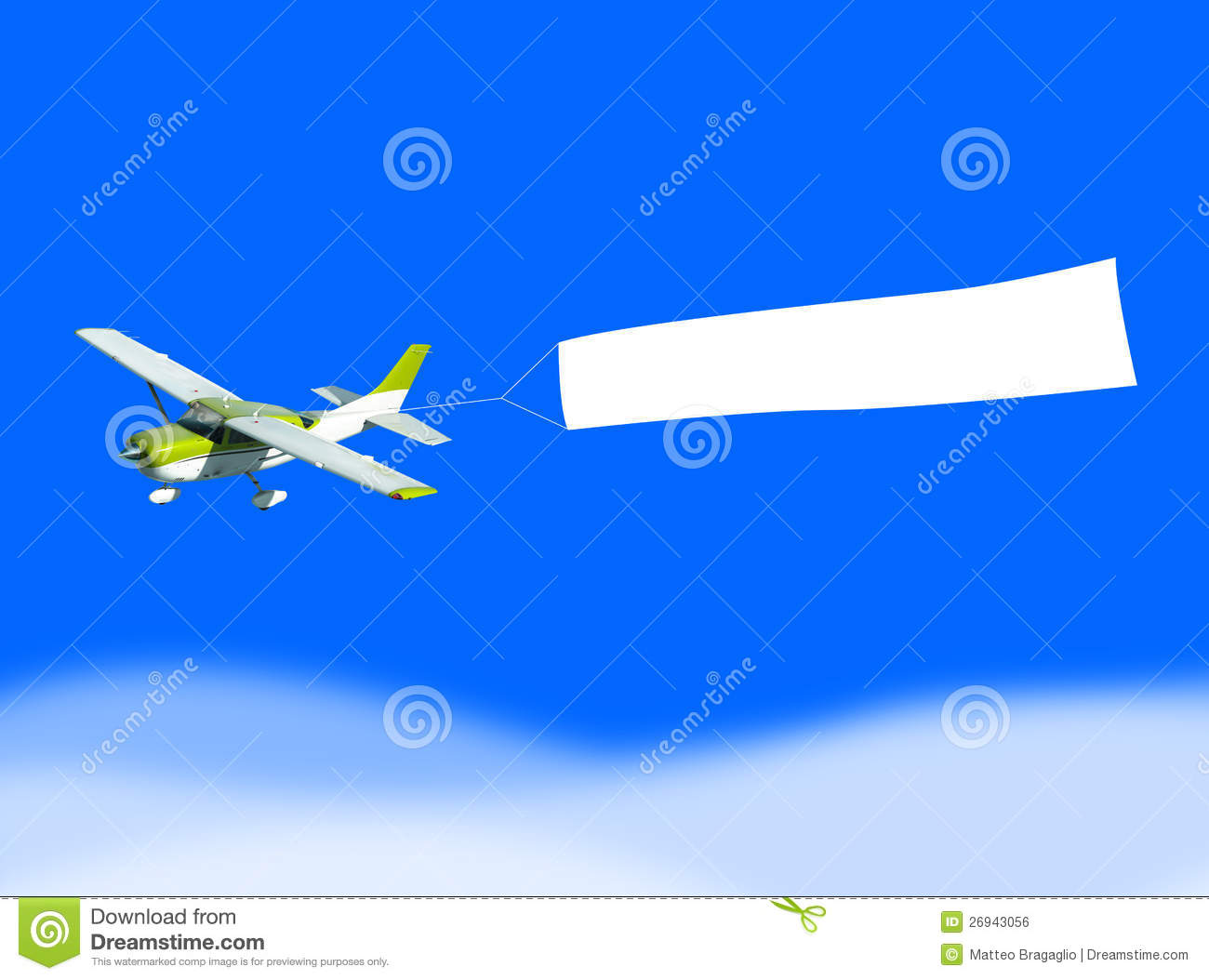 An airplane flying through the sky pulling a blank white banner to add ...