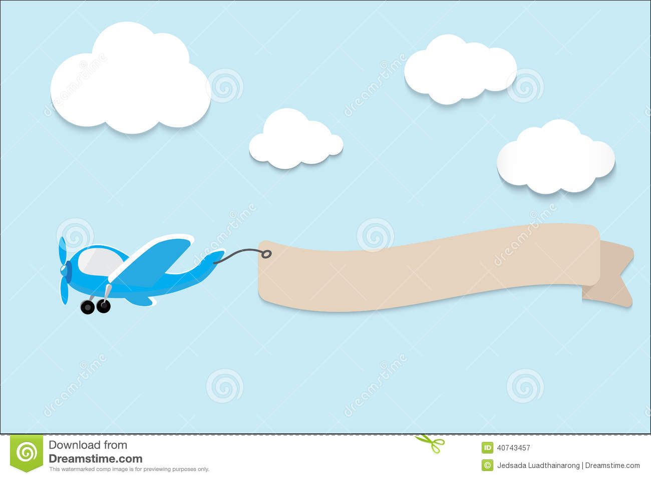 Airplane With A Banner. Vector Illustration. Stock Vector - Image ...