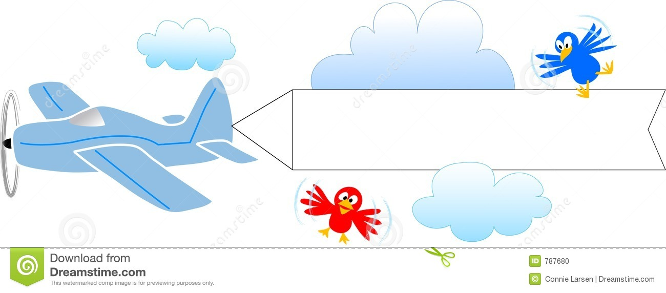 Airplane with blank banner/eps