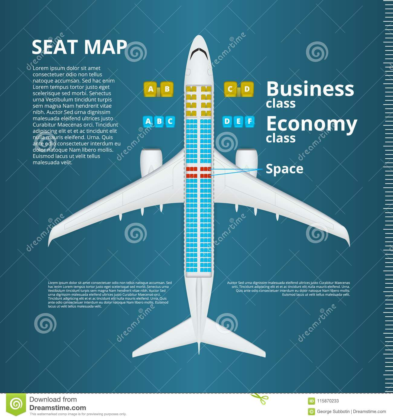 airplane business or economy class seat map template stock