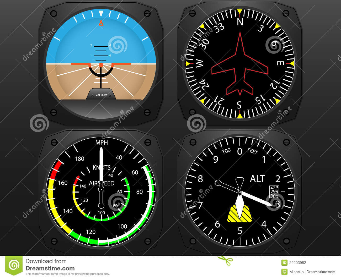 Airplane cockpit flight instrument panel, with compass,speedometer ...
