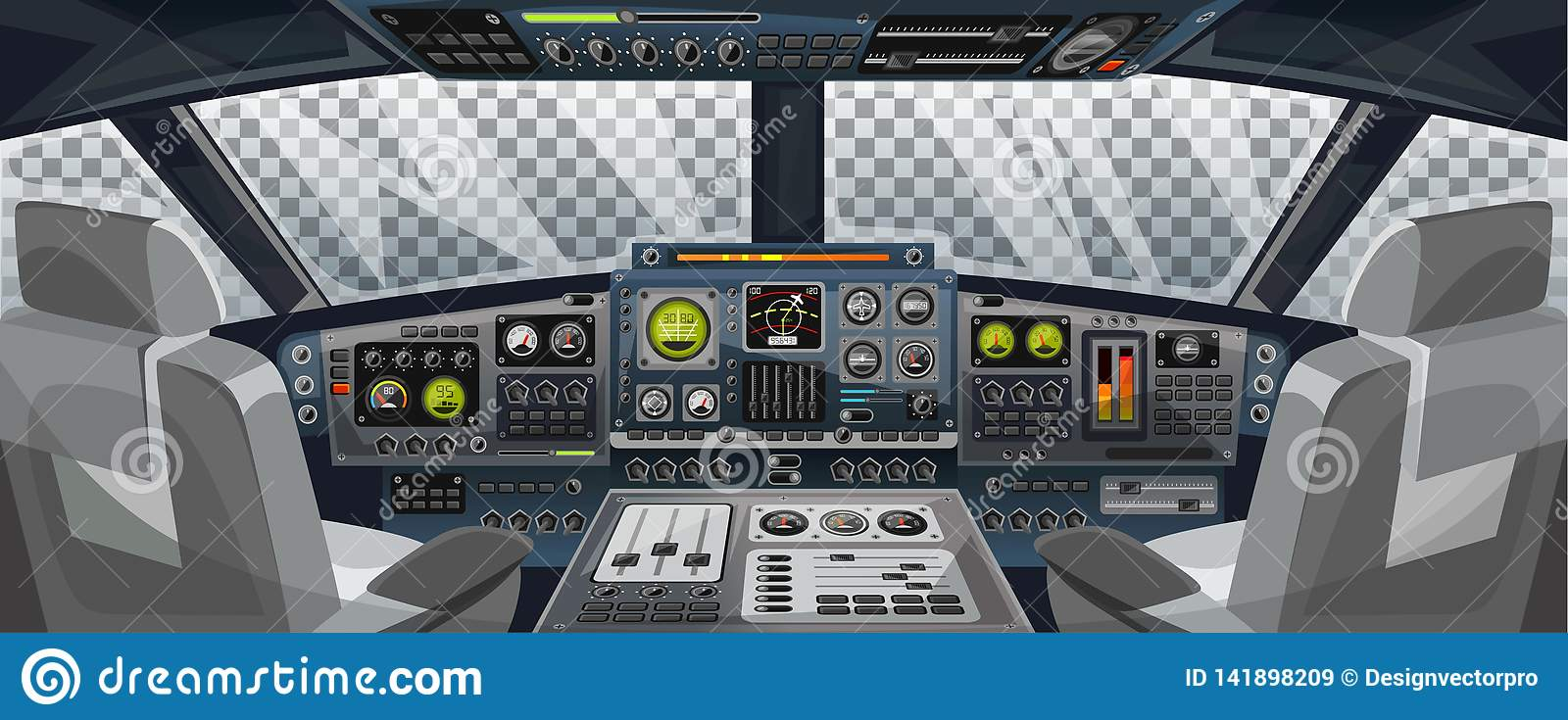 Airplane Cockpit View With Control Panel Buttons And