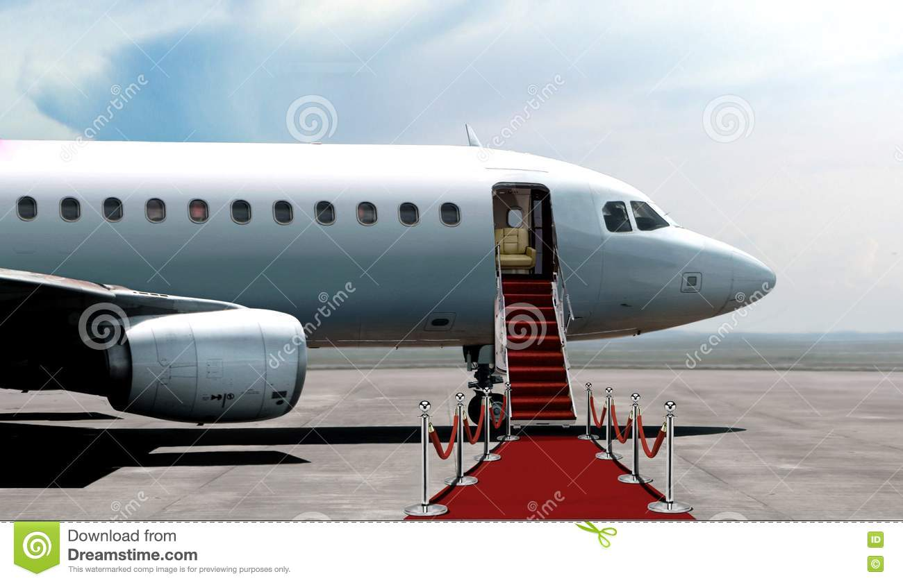 Airplane Departure Entrance With Red Carpet Stock Image