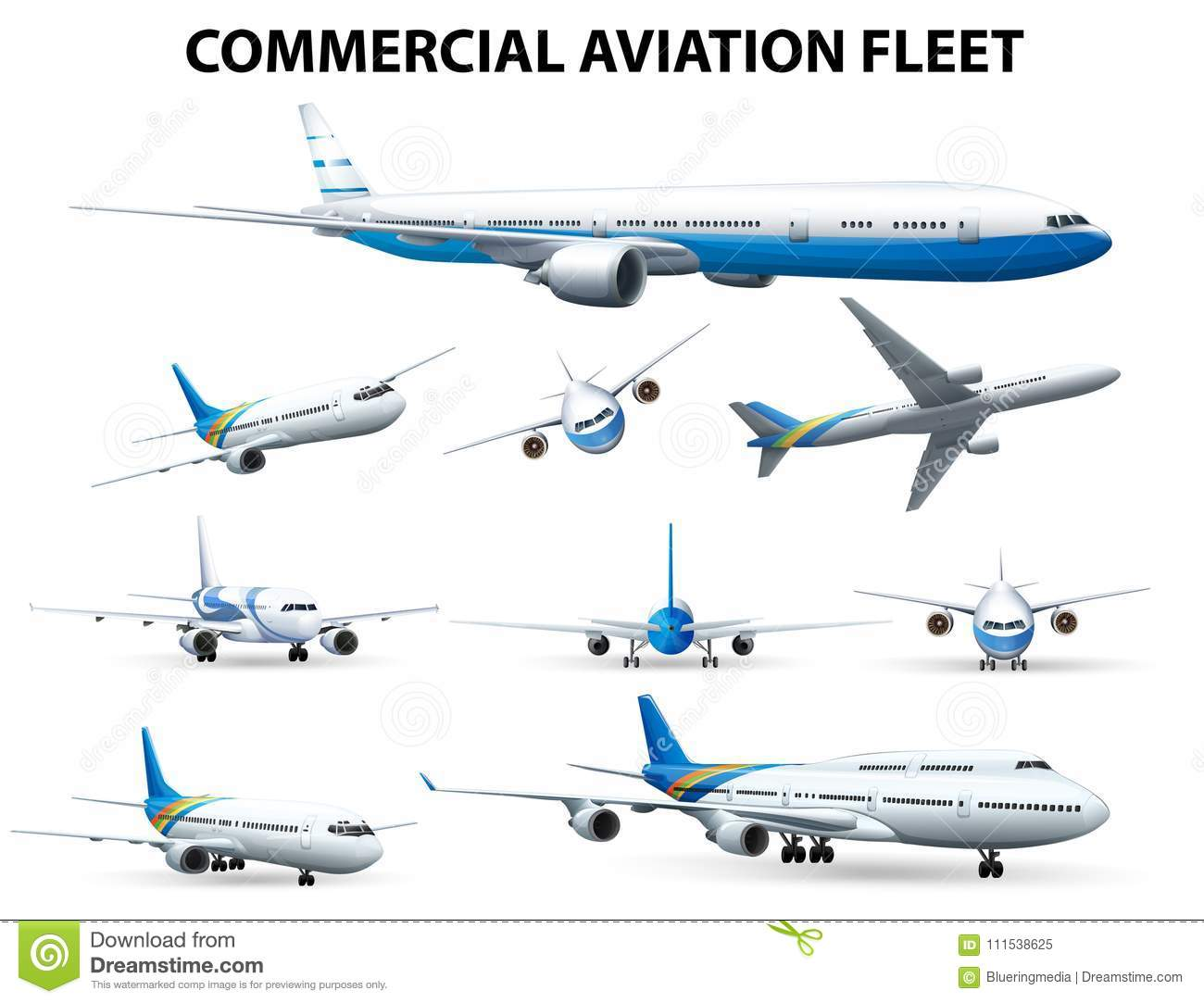 Airplane In Different Positions For Commercial Aviation