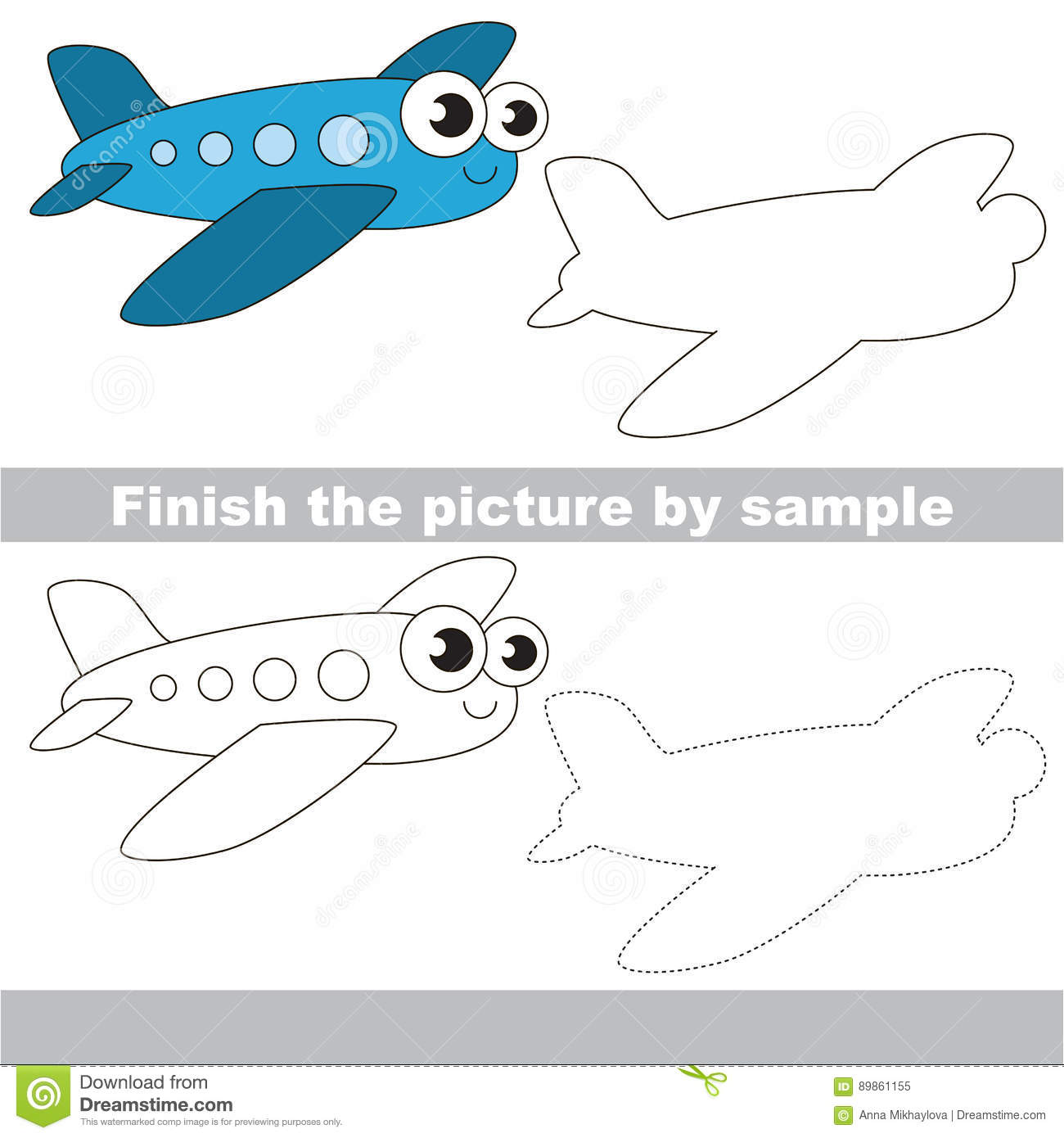 Airplane Drawing Worksheet Stock Vector Illustration Of Logic