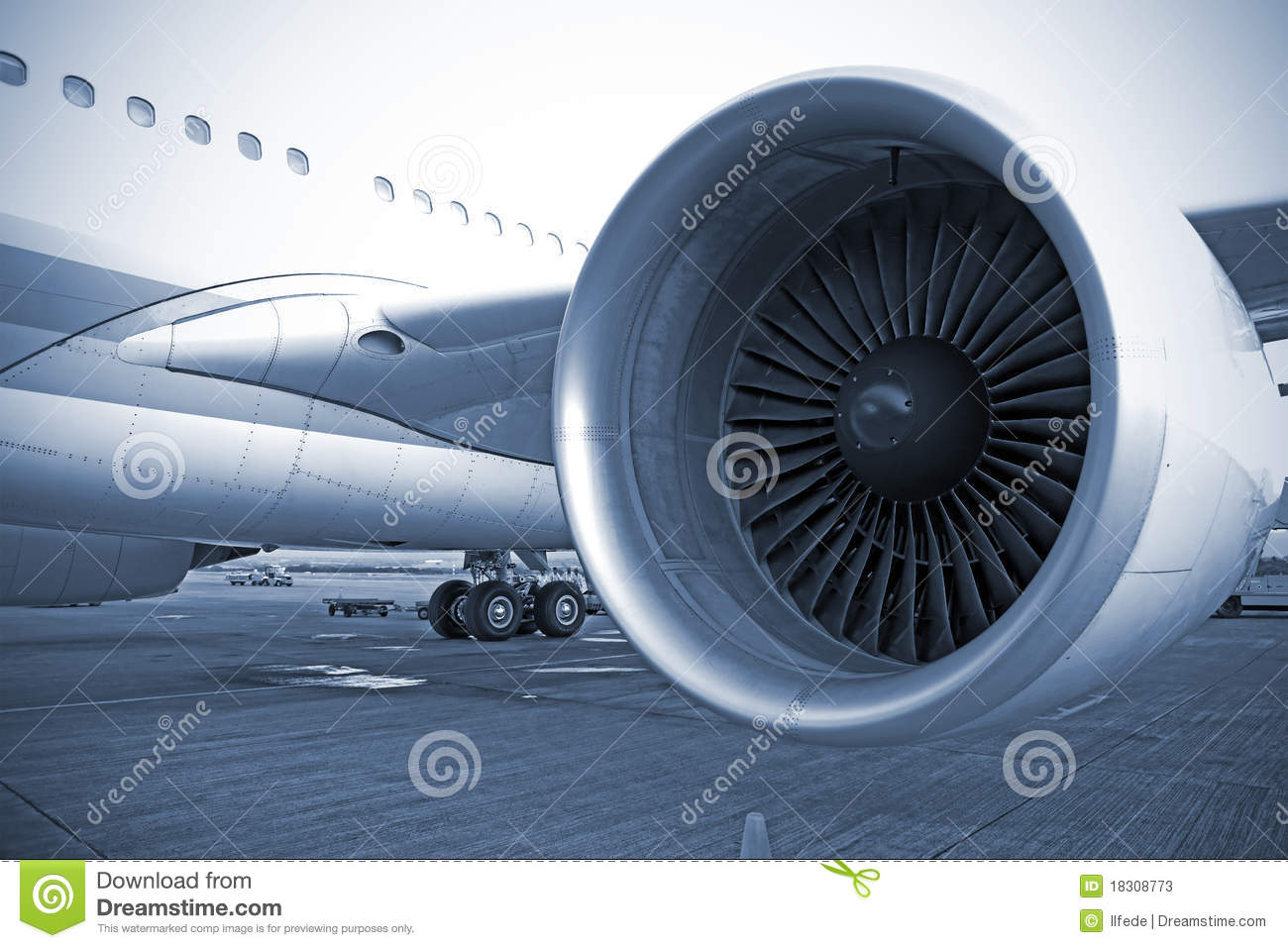 Airplane engine in airport