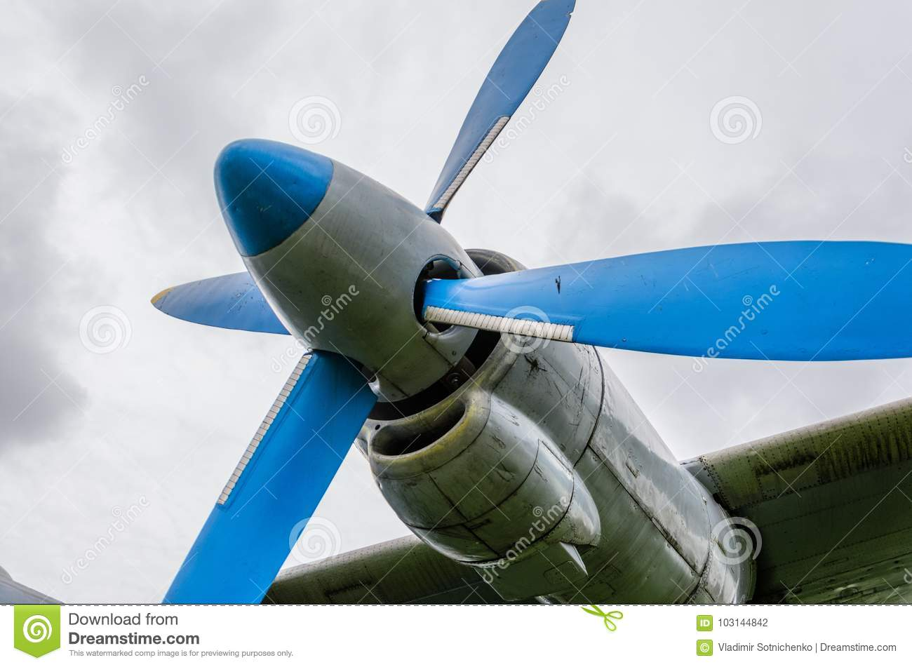Airplane Engine With Propeller Parts Of Aircraft Fuselage Stock