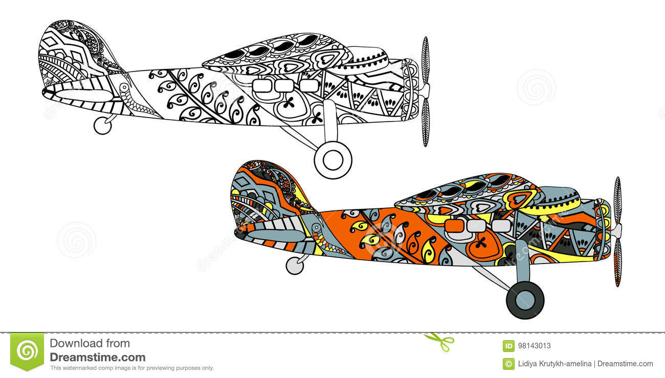 Airplane With Ethnic Doodle Pattern  Zentangle Inspired