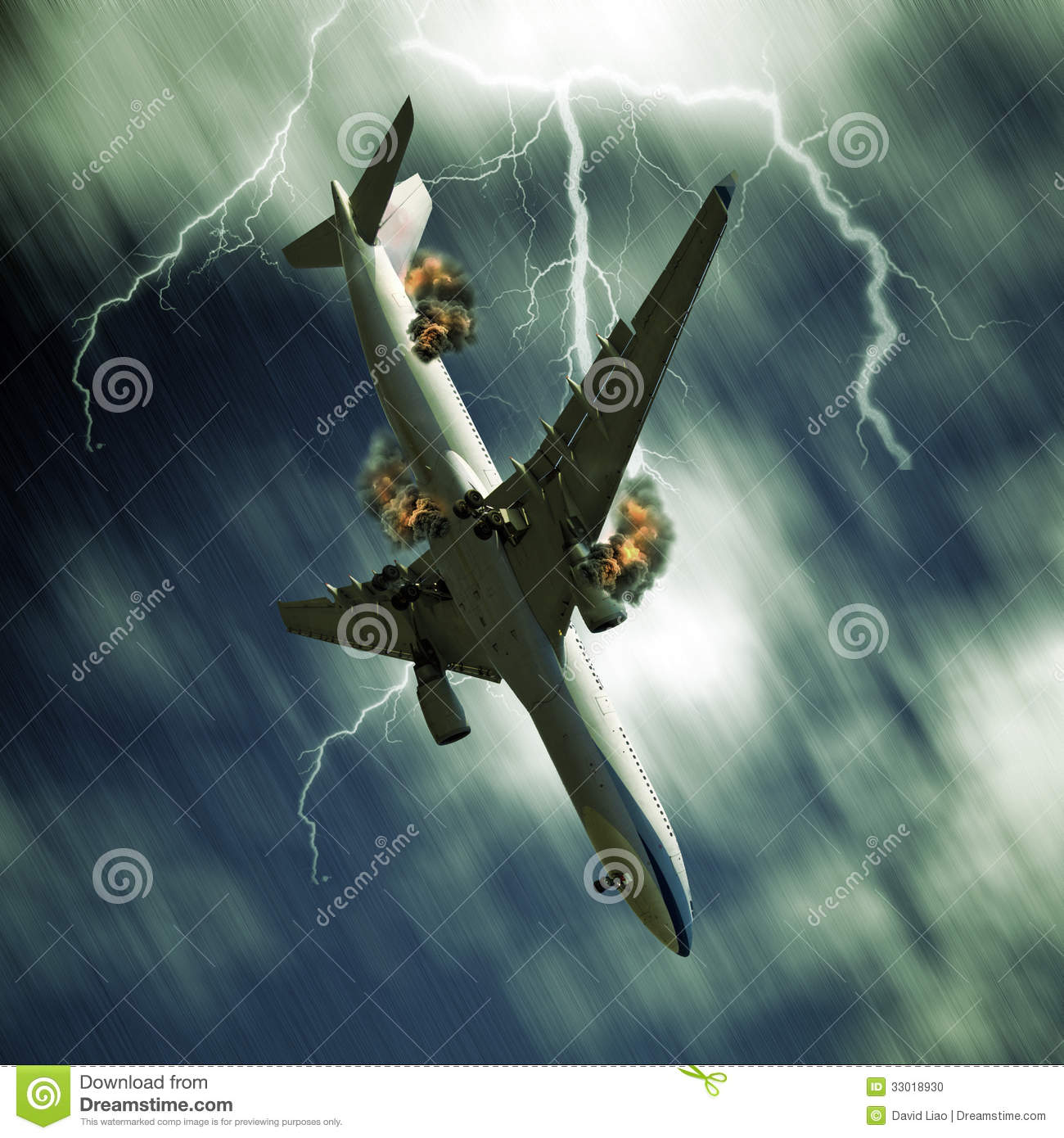 Airplane Falling From Sky Stock Photo Image Of Night