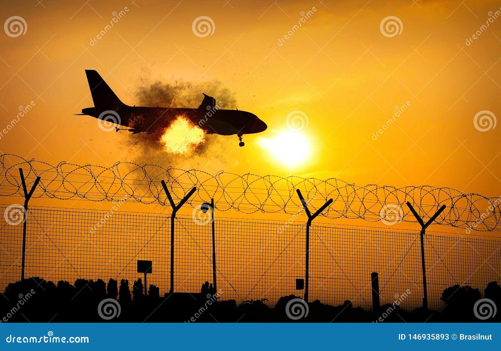 Airplane on fire in midair close to ground - digital manipulation